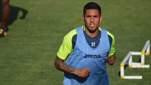 Sergio Peña, durante un entrenamiento del equipo almeriense