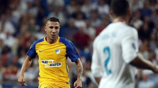 Roberto Lago en un partido frente al Real Madrid