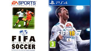 Primera portada y la última del videojuego de fútbol de EA Sports