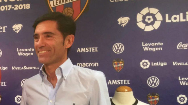 Marcelino, durante la rueda de prensa conjunta con Muñiz