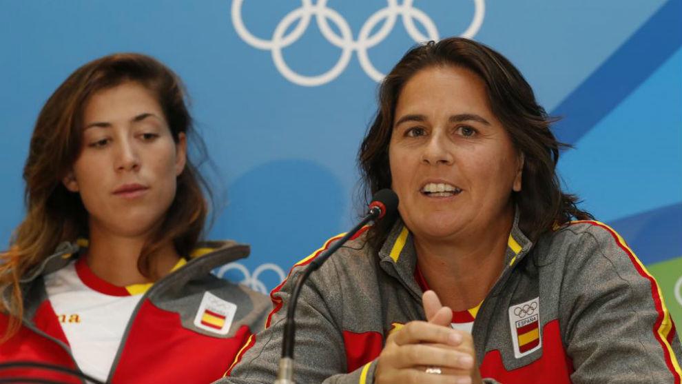 Conchita Martínez, junto a Garbiñe Muguruza, en Río 2016.