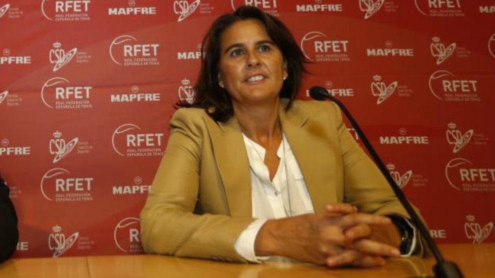 Conchita Martínez, durante una conferencia de prensa.