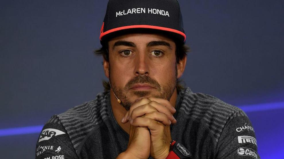 Fernando Alonso, en la rueda de prensa en Singapur