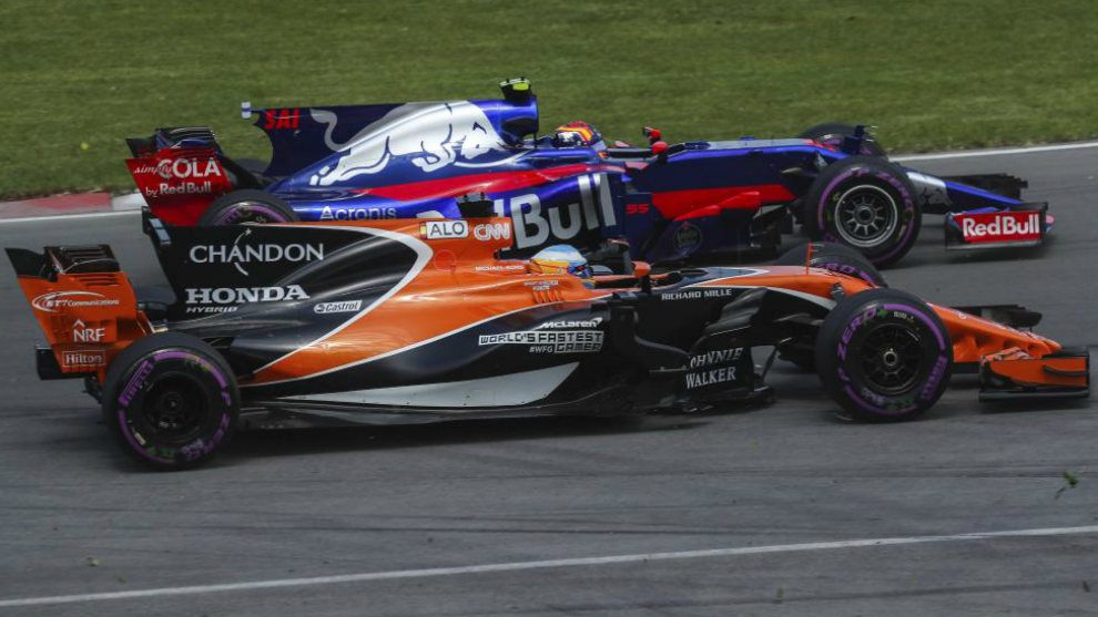 Alonso y Sainz, durante el pasado Gran Premio de Italia en Monza.