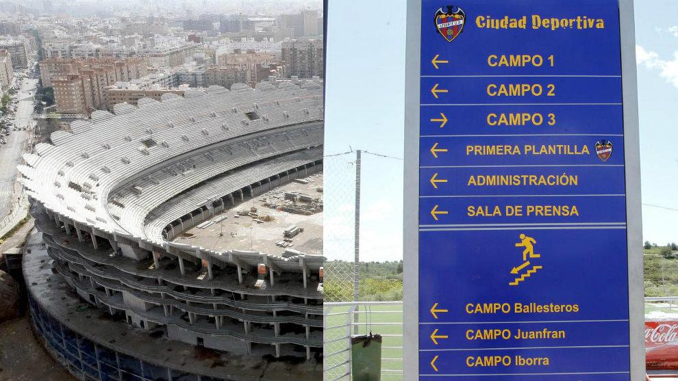 Imagen del nuevo estadio del Valencia y de un panel de la ciudad...