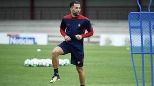 Quique González, en un entrenamiento reciente en Tajonar