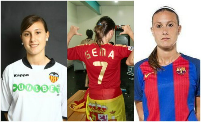 Gemma Gili en su etapa en el Valencia, Sub'19 española y Barcelona.