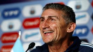 Edgardo Bauza, durante una rueda de prensa cuando era seleccionador de...