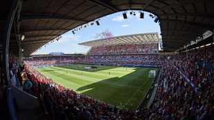 El estadio de El Sadar en el partido frente al Huesca