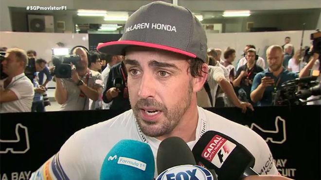 Fernando Alonso, tras la sesi�n de calificaci�n.