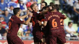 Deulofeu se une a una pi�a tras el gol de Paulinho en Getafe.
