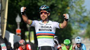 Peter Sagan, en su última victoria en Québec, que fue la 100ª de su...