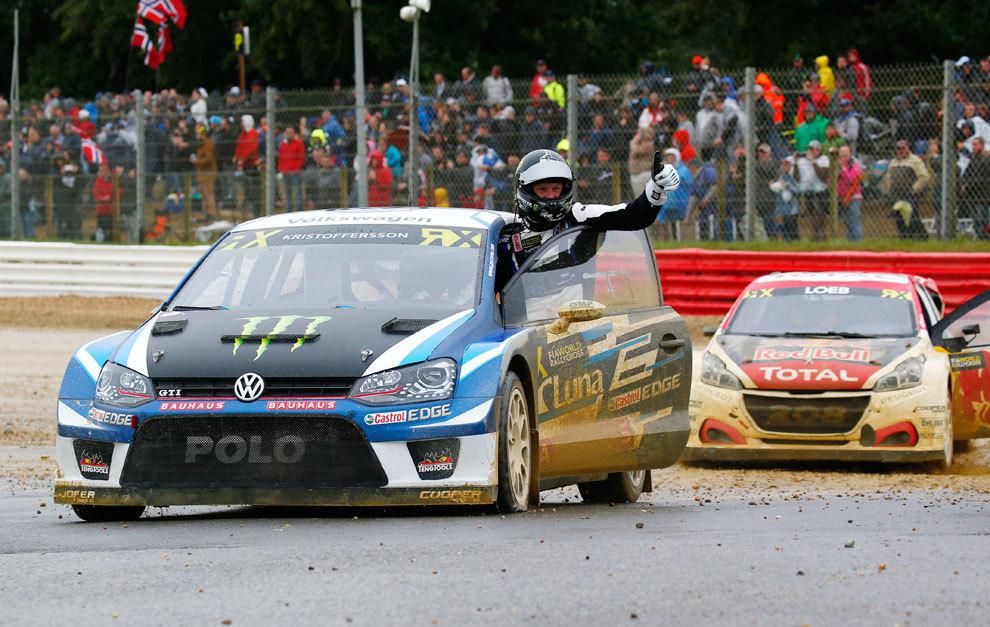 Kristoffersson celebra el título en su VW Polo GTI