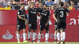Muriel celebra con sus compañeros su gol en Montilivi.