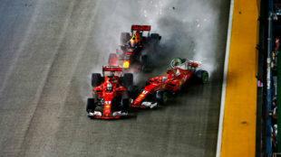 Vettel, Raikkonen y Verstappen colisionan en la salida del GP de...