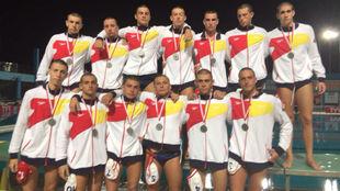 Selección de waterpolo júnior tras la final frente a Montenegro.