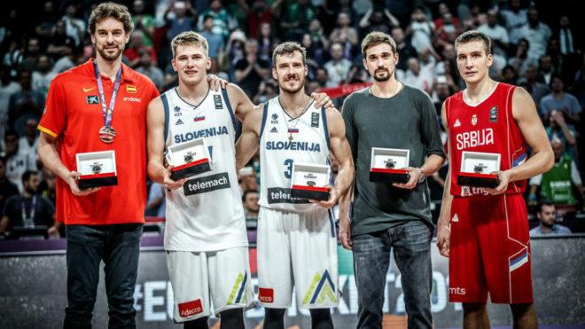 De izquierda a derecha, Pau Gasol, Luka Doncic, Goran Dragic, Alexey...