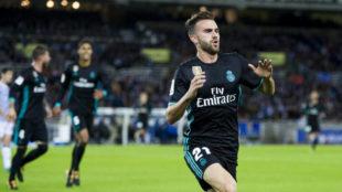 Borja Mayoral celebra su gol a la Real.
