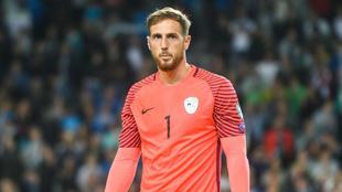 Oblak (24) durante el partido entre Eslovenia y Lituania por la...