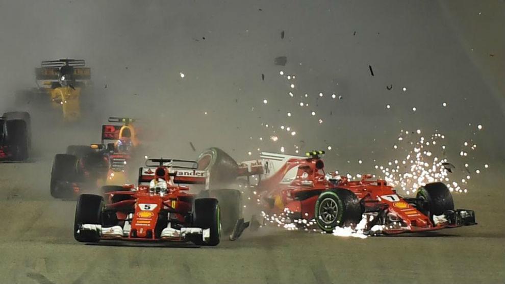 El accidente entre Vettel y Raikkonen en Singaupor