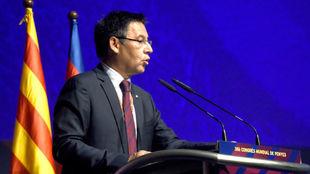 Bartomeu, en el último Congreso Mundial de Peñas del Barcelona.