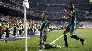 Sanabria celebra el gol en el Bernabéu