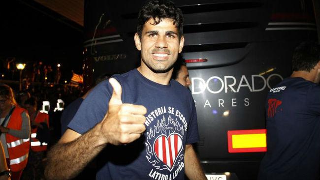 Diego Costa, durante la celebraci�n del t�tulo de Liga que...