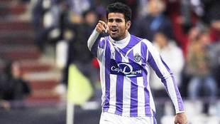 Diego Costa celebra un gol en Zorrilla durante su etapa en el...