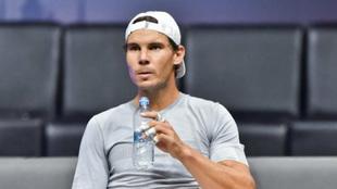 Rafael Nadal, en un descanso de su entrenamiento para la Laver Cup