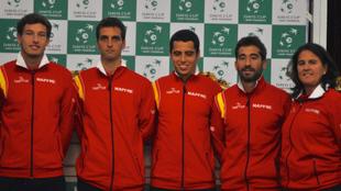 Una de las �ltimas formaciones del equipo nacional de Copa Davis, con...