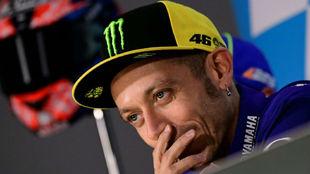 Valentino Rossi, en la rueda de prensa de Alcañiz