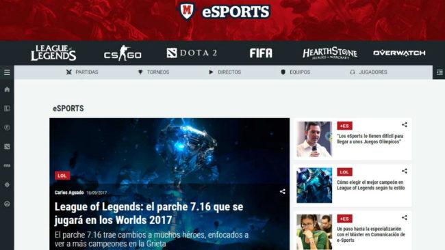 Pantallazo de la nueva web de MARCA para los eSports