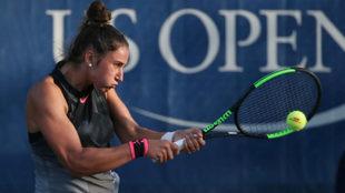 Sara Sorribes durante un partido en el US Open.