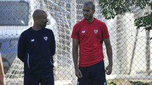Pizarro, antes del entrenamiento de este viernes.
