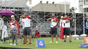 Entrenamiento de los españoles antes de una prueba en los Juegos de...