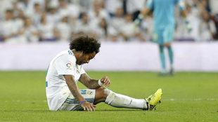 Marcelo, lesionado ante el Betis.