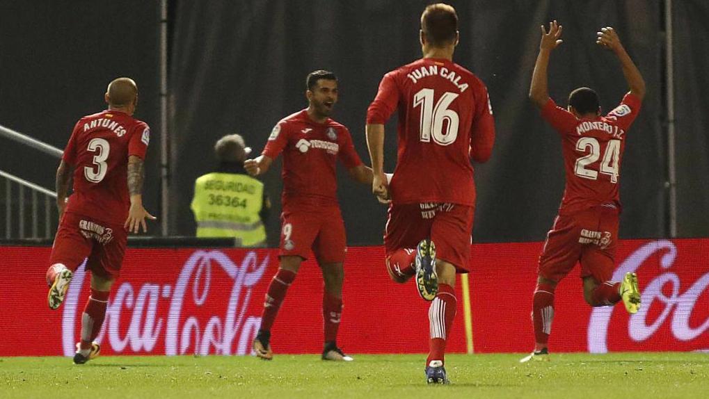 Ángel celebra su gol ante el Celta, el primero con el Getafe.