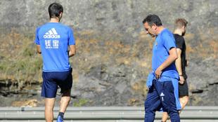 Eusebio Sacristán durante una sesión de entrenamiento con la Real...