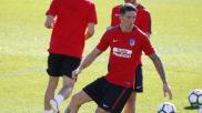 Torres, en un entrenamiento con el Atlético.