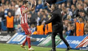 Simeone y Diego Costa celebran un gol en la Champions.