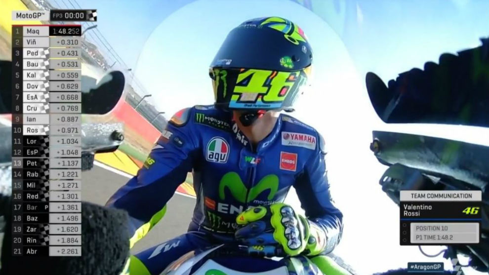 Rossi, al acabar el libre 3 de Aragón
