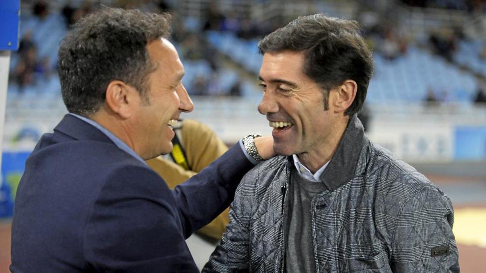 Eusebio y Marcelino se saludan en un partido la temporada pasada