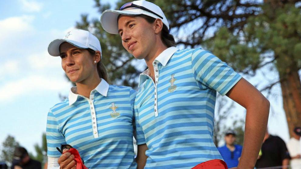 Azahara Muñoz y Carlota Ciganda, durante la Solheim Cup de 2013.