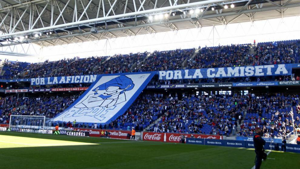 Afición del Espanyol en el RCDE Stadium en un choque del curso pasado