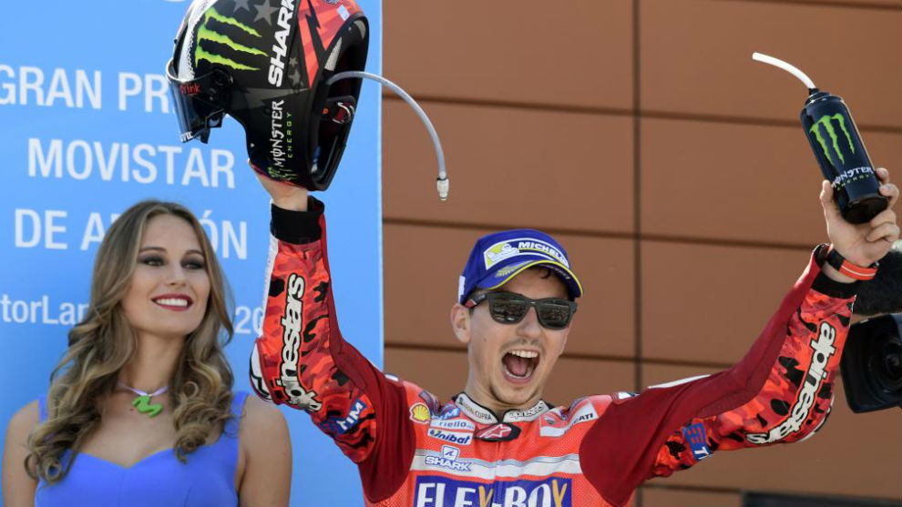 Lorenzo, en el podio.