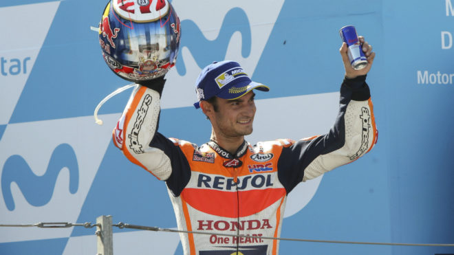 Pedrosa, en el podio.
