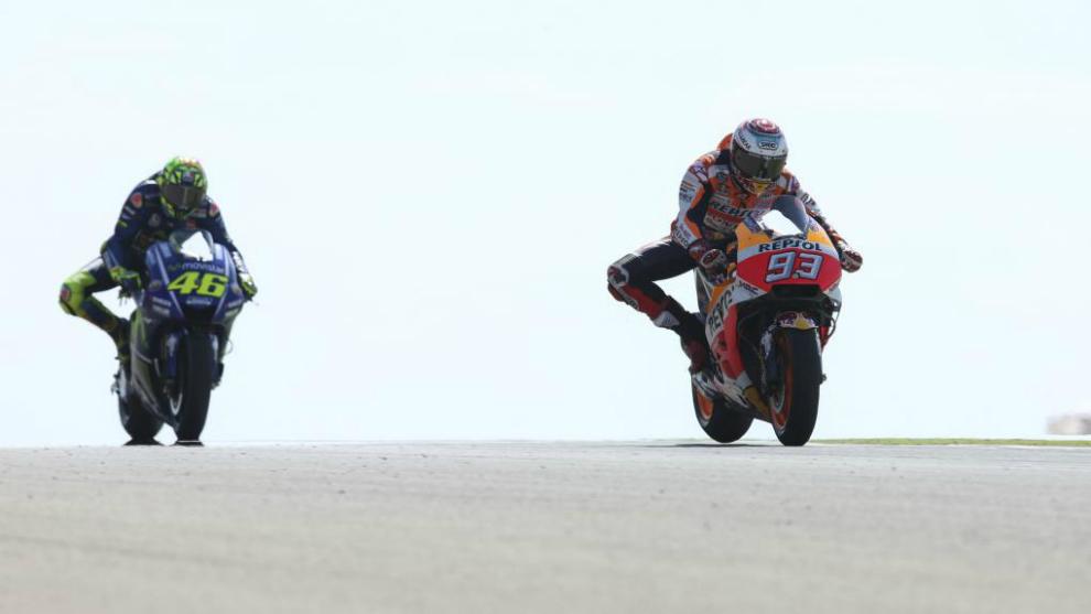 Márquez y Rossi durante el GP de Aragón del pasado domingo.