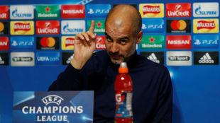Pep Guardiola en la rueda de prensa previa al partido de Champions.