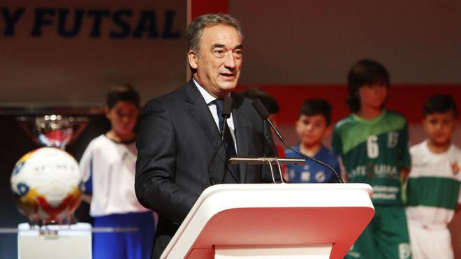 Javier Lozano, durante la última gala de la LNFS.