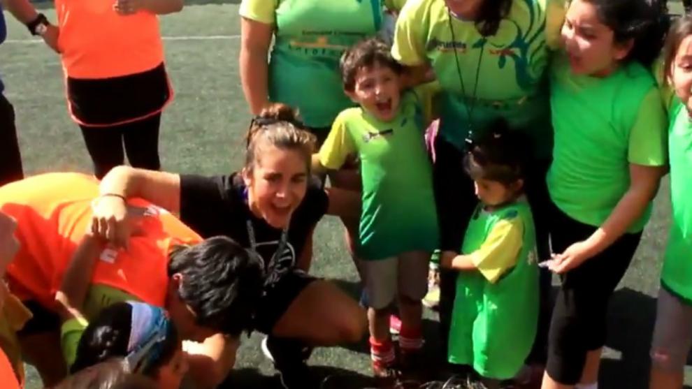 Patricia García durante la anterior parada de la gira Rugby Libre, en...